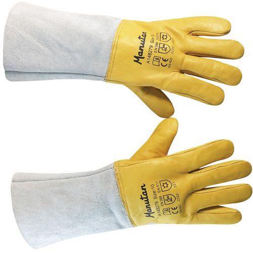 Manutan téli bőr kesztyű, szürke/sárga