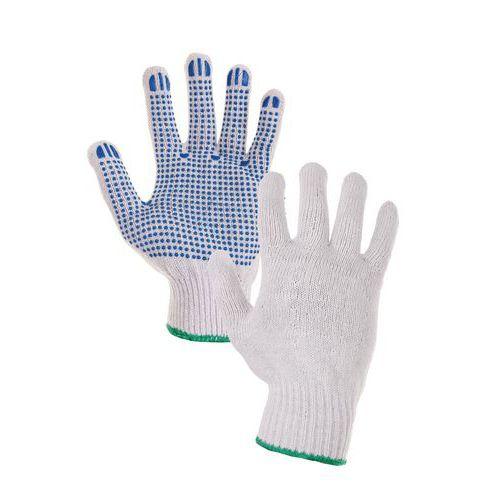 CXS pamut kesztyű pöttyökkel, fehér/kék