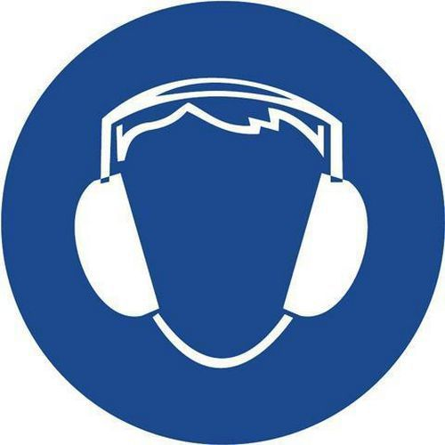 Utasító biztonsági táblák - Használj fülvédőt