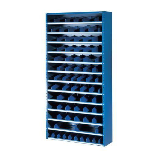 Fém polcállvány osztóelemekkel, 198 x 100 x 20 - 40 cm, 12 polccal, kék