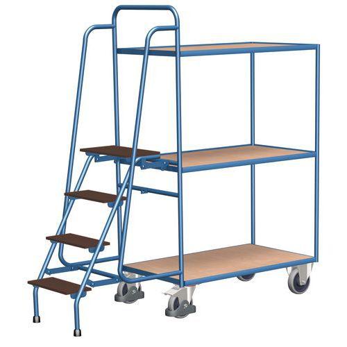 Magas polcos kocsi lépcsővel, 250 kg-ig, 3 polc