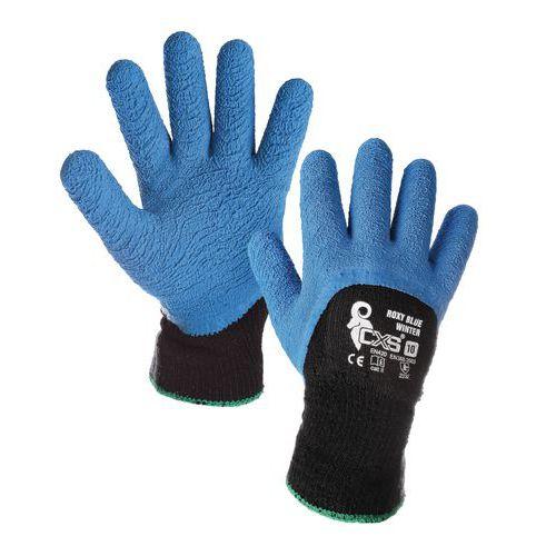 CXS félig latexbe merített téli akril kesztyű, kék/fekete