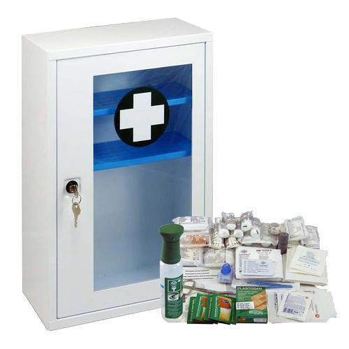 Fém fali mentőláda átlátszó ajtóval, zárható, 46 x 30 x 14 cm, RAKTÁR felszereléssel