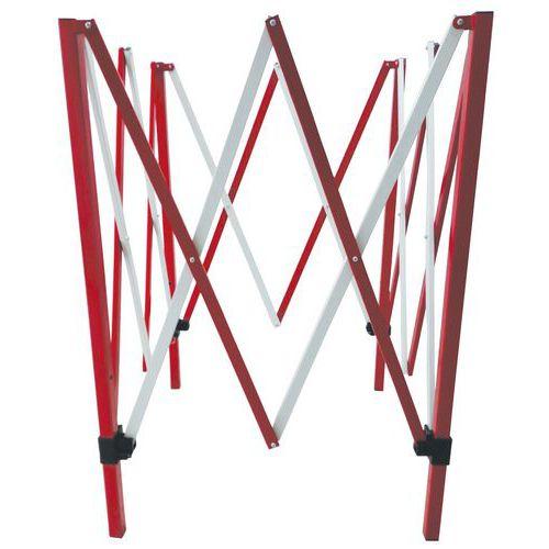 Manutan négyzet alakú fém mobil torlasz, összecsukható, 130 x 130 cm