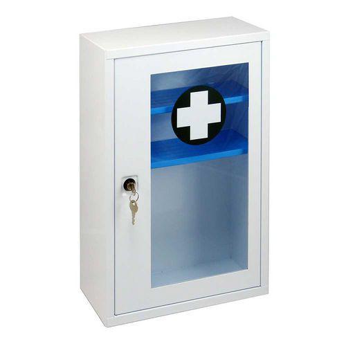 Fém fali mentőláda átlátszó ajtóval, zárható, 46 x 30 x 14 cm