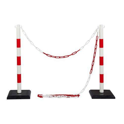 Ping műanyag torlaszoló oszlopok lánccal, magassága 90 cm, 2 db