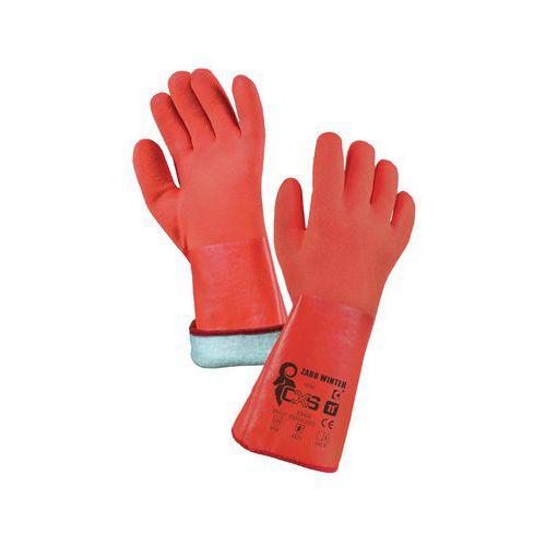 CXS PVC-be merített téli pamut kesztyű, piros
