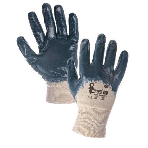 CXS félig nitrilbe merített pamut kesztyű, kék/fehér