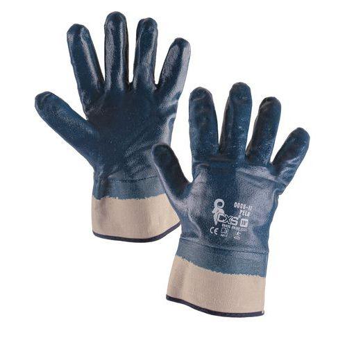 CXS nitrilbe merített pamut kesztyű, kék/fehér