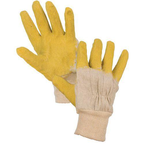 CXS félig latexbe merített pamut kesztyű, sárga/fehér