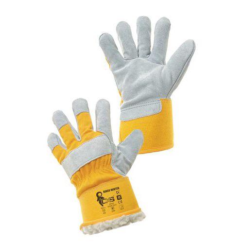 CXS bőr kesztyű, sárga/fehér