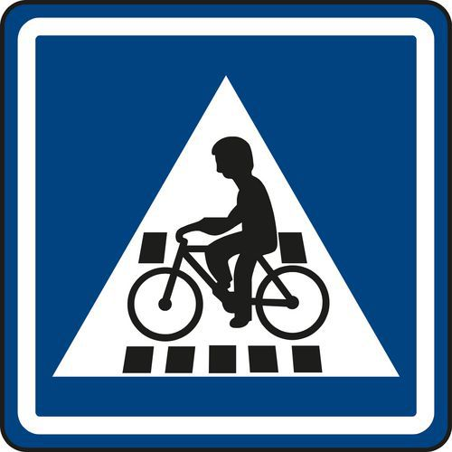 Kerékpáros átkelőhely (IP7) közlekedési tábla