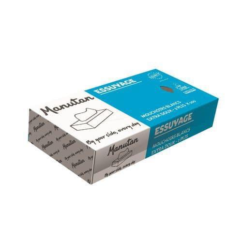 Manutan papírzsebkendők 2 rétegű, 100 lap, fehér