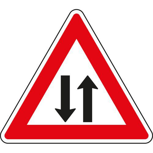 Kétirányú forgalom (A9) közlekedési tábla