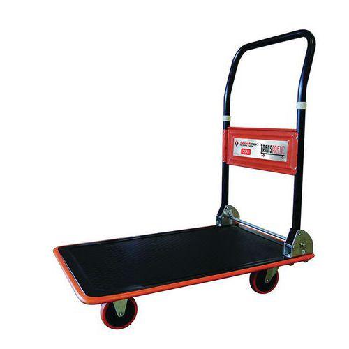 Platós kocsi lehajtható fogantyúval, 150 kg-ig