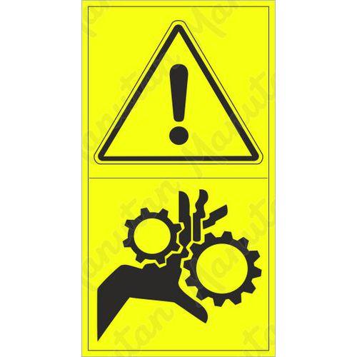 Figyelmeztető tábla - A kar fogaskerékkel történő behúzásának veszélye