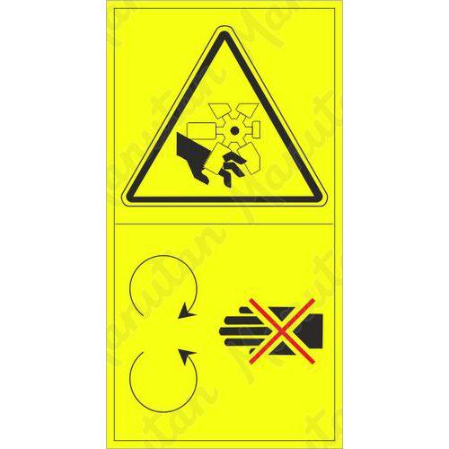 Figyelmeztető tábla - A kéz vagy ujjak levágásának veszélye