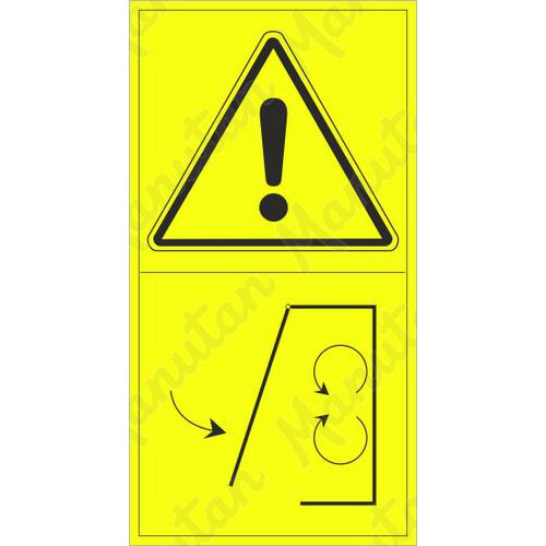 Figyelmeztető táblák - Működés közben ne távolítsa el a biztonsági fedelet