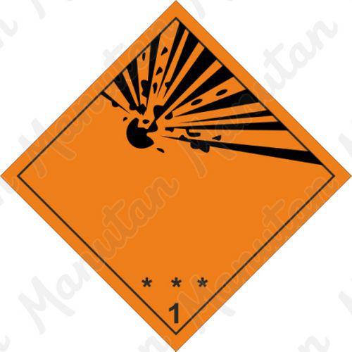 ADR figyelmeztető táblák - Robbanóanyagok és tárgyak 1 sz.