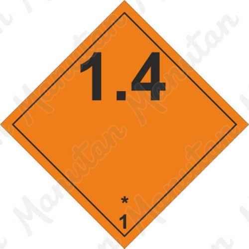 ADR figyelmeztető táblák - Robbanóanyagok és tárgyak 1.4 sz.