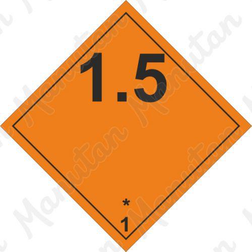 ADR figyelmeztető táblák - Robbanóanyagok és tárgyak 1.5 sz.