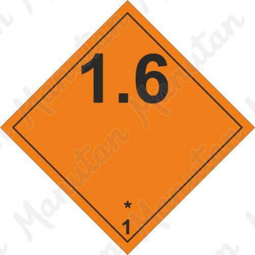 ADR figyelmeztető táblák - Robbanóanyagok és tárgyak 1.6 sz.