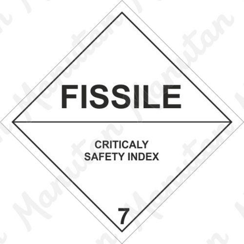 ADR figyelmeztető táblák - Fissile hasadóanyagok 7E