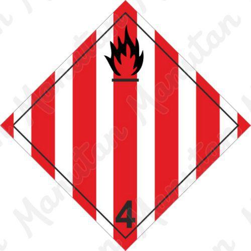 ADR figyelmeztető táblák - Tűzveszély, gyúlékony szilárd anyagok 4.1 sz.