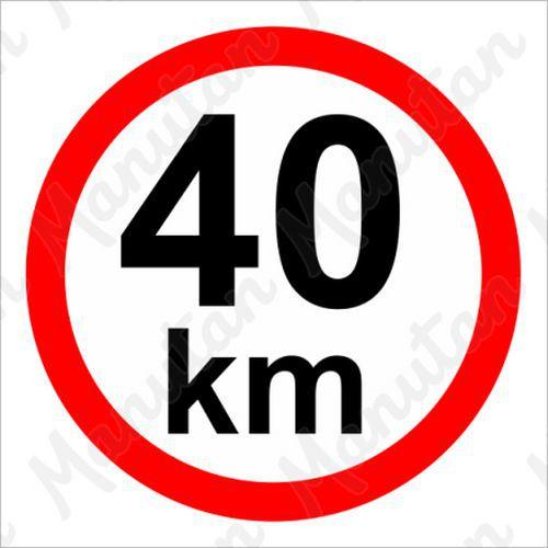 Munkavédelmi táblák - Sebességkorlátozás 40 km/h