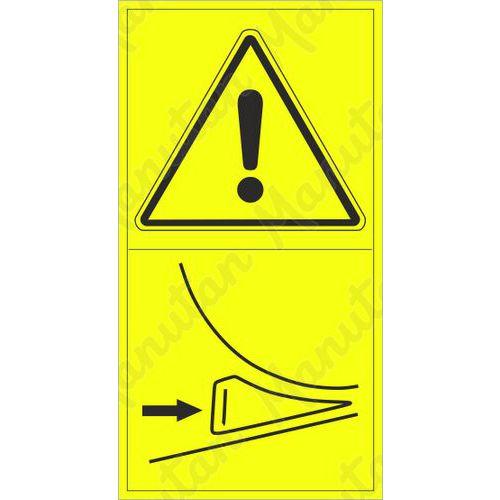 Figyelmeztető táblák - Ékkel rögzítse a mobil gépet gördülés ellen