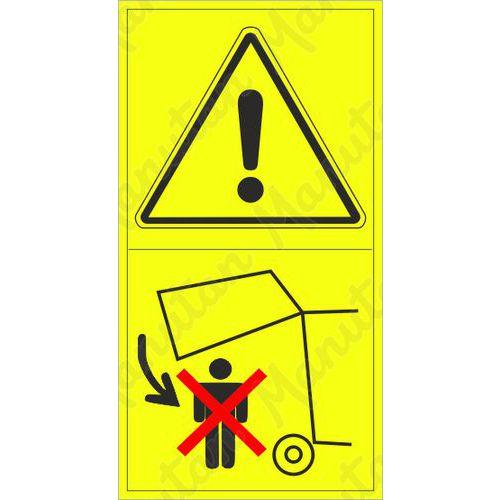 Figyelmeztető táblák - Ne lépjen a területre a gép csukódása közben