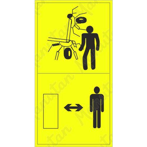 Figyelmeztető táblák - Tartsa be a megfelelő távolságot a felemelt aratógéptől