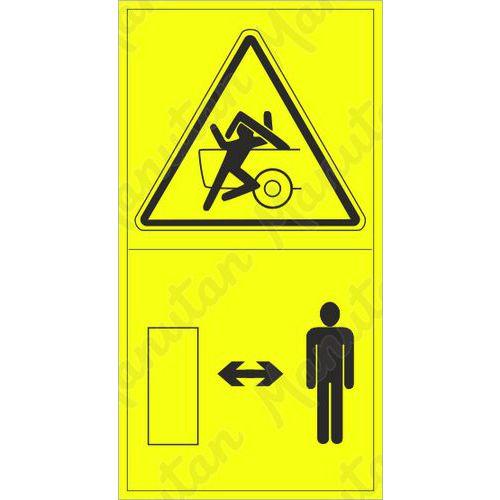 Figyelmeztető táblák - Sérülés veszélye a gép részének lehajtása közben