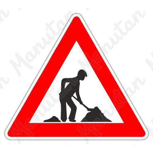 Figyelmeztető táblák - Munkavégzés A15 közlekedési tábla