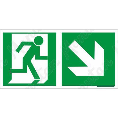 Biztonsági táblák, fotolumineszcens - Vészkijárat jobbra le