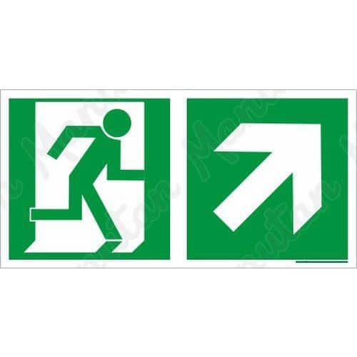 Biztonsági táblák, fotolumineszcens - Vészkijárat jobbra fel