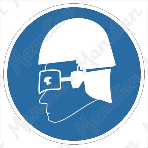 Munkavédelmi tábla - Belépés csak védőszemüvegben vagy arcvédőben