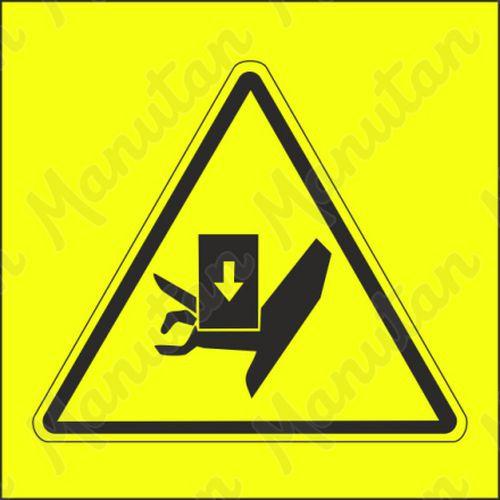 Figyelmeztető tábla - Fentről történő kézsérülés veszélye