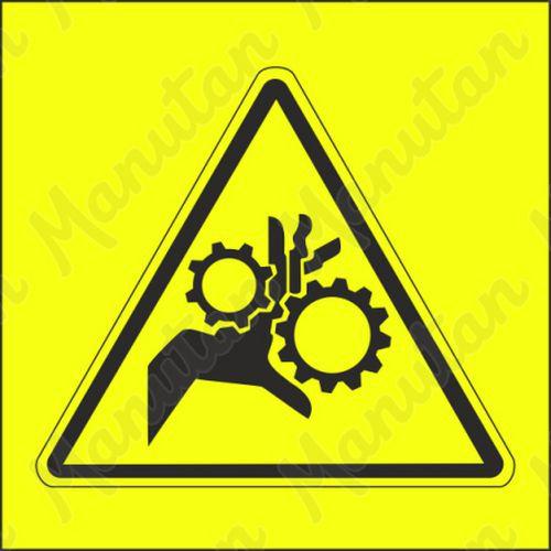Figyelmeztető tábla - Fogaskerék okozta kézsérülés veszélye