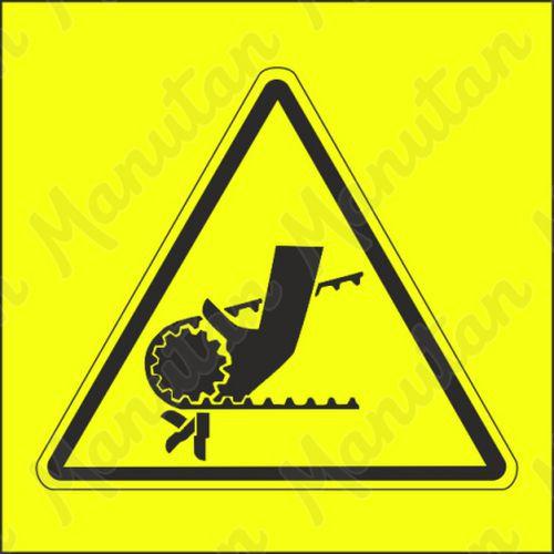 Figyelmeztető tábla - A kéz lánccal vagy fogaskerékkel történő behúzásának veszélye