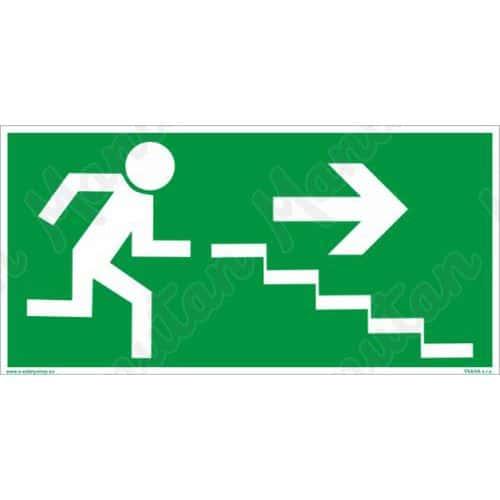 Menekülési foszforeszkáló biztonsági táblák - Vészkijárat lépcső jobbra le