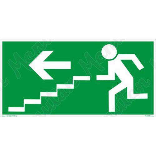 Menekülési foszforeszkáló biztonsági táblák - Vészkijárat lépcső balra le