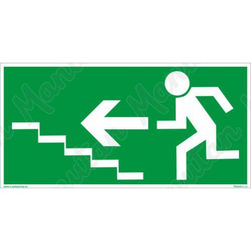 Biztonsági tábla - Menekülési lépcső balra fel
