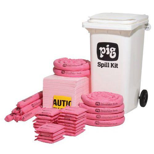 Kármentesítő készlet, hordozható, Pig, vegyi, elnyelési kapacitás 158 l