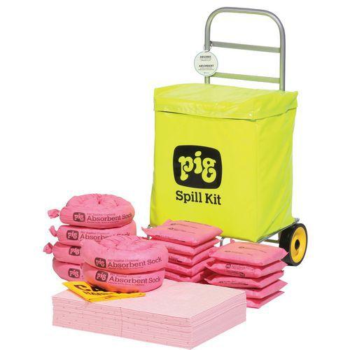 Kármentesítő készlet, hordozható, Pig, vegyi, elnyelési kapacitás 54 l