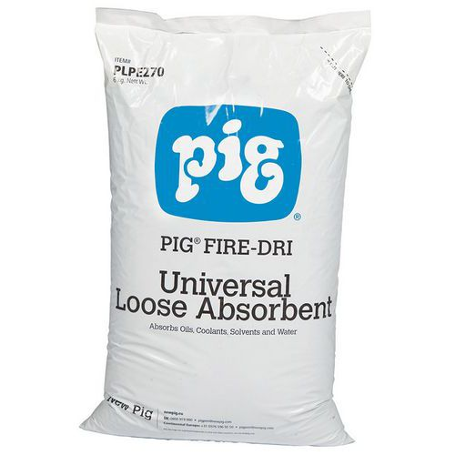 Nem gyúlékony természetes porhanyós szorbens Pig, univerzális, elnyelési kapacitás 15 l, 6 kg