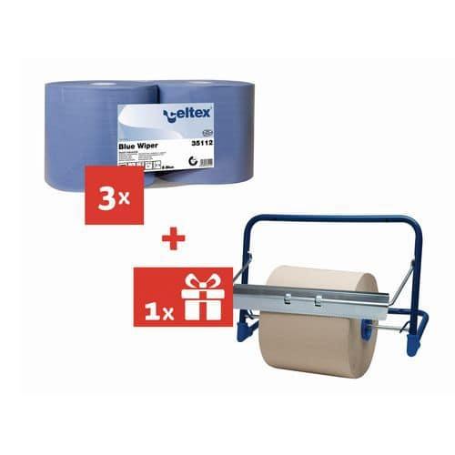 Celtex Blue Wiper 2 rétegű ipari papírtörlők, 970 lap, 6 db + AJÁNDÉK fali tartó