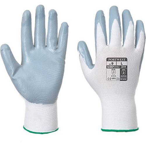 Flexo Grip nitril kesztyű (kisker kiszerelés), fehér/szürke