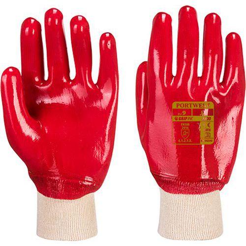PVC csuklóig mártott kesztyű, piros