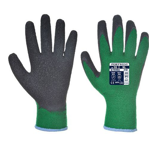 Thermal latex mártott kesztyű, zöld/fekete